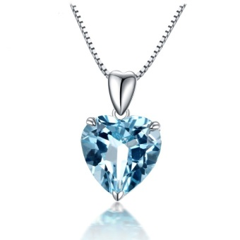 Harga Blue Topaz Pendant Gemstone Jewelry 925 Sterling Silver Necklace Heart Women Romantic Gift