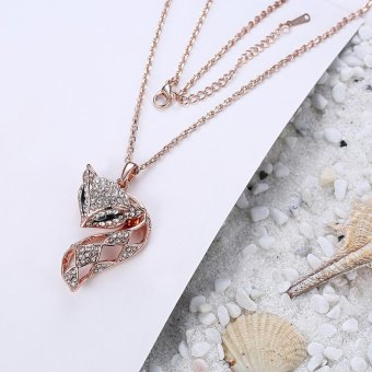 Harga Lovely Full Crystal Fox Pendant Necklace - intl