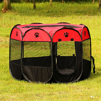 Harga Pet Dog Bed Kennel Play Pen Soft Playpen Cage Folding Crate Red – SSize