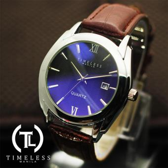 Harga Timeless Manila David Datejust Synthetic Leather Watch (Blue/Coffee)