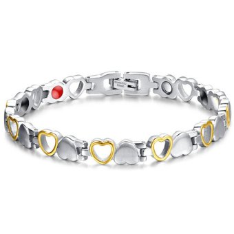 Harga Fashion Healthy Magnetic Bracelet Men/Woman Heart Design 316L Stainless Steel Health Care Elements Bracelet Hand Chain Jewelry