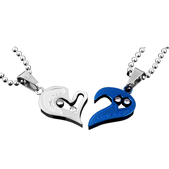 Harga Men Women Lover Couple Necklace I Love You Heart Shape Pendant Chain Jewel White