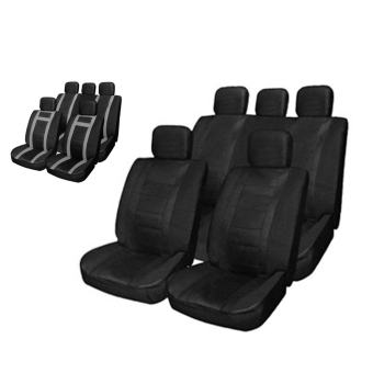 Harga MiniCar T21621 / BK BK 11pcs Car Seat Cover Set PU Leather Water-resistant Anti-Dust Auto Cushion Protector(Color:Black) - intl