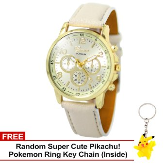 Harga Geneva Sophie Cream Leather Strap Watch with Free Super Cute Pikachu Key Chain