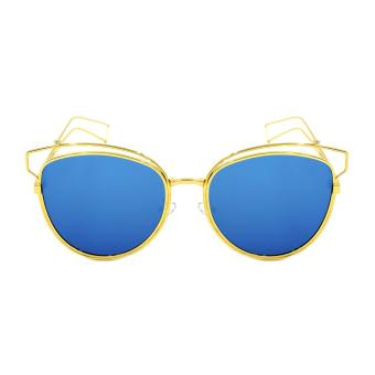 Harga Maldives 2217-Y Livia Retro Wire Frame Cat Eye Summer Style Sunglasses (Blue/Gold)