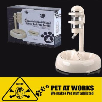 Pet Separable Water and Food Feeder Big (White) Heart-Shaped (For Dogs and Cats Pets)