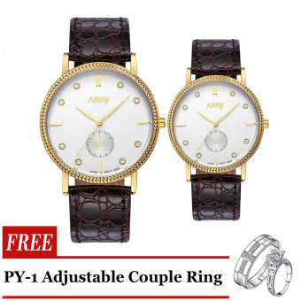 Nary 9003 Business Type Corporate watch Brown Strap Gold Frame White Face with Free PY-1 Adjustable Couple Ring Price Philippines