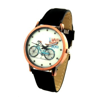Harga Bicycle Unisex Black Denim Leather Strap Watch 8816 (Rose Gold)