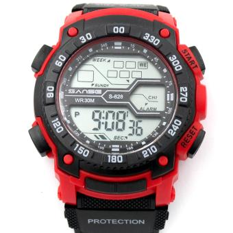 Sanse Water Resistant Uni-sex Watch TPU resin Strap-628 BLACK/RED Price Philippines