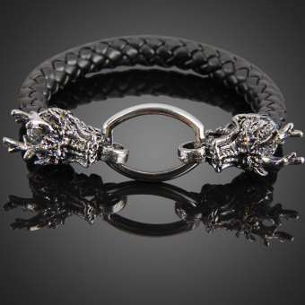 Harga Fashion Dragon Ring Man Braid Bracelet Leather Band Bangle (Black)