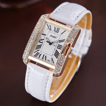 ANGEL Diamond Women Fashion Leather Strap Quartz Watch (White) Price Philippines