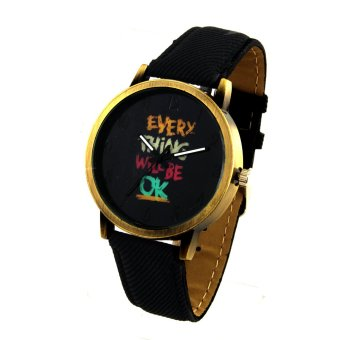 Harga OK Women's Black Denim Leather Strap Watch 8815 (Gold)