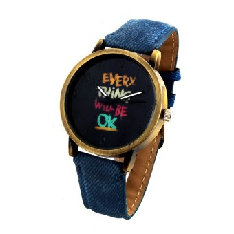 Harga OK Women's Gold/Blue Denim Strap Watch 8815
