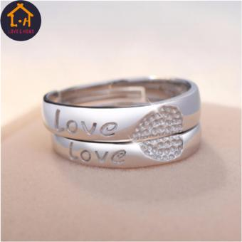 Harga LOVE&HOME Silver Love Heart Couple Rings