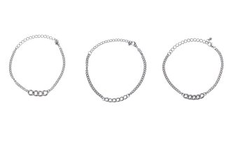 Harga Patrick Lovebird Curb Chain Bracelet Set of 3 (Silver)