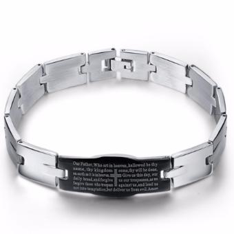 Harga High Grade Premium Stainless Steel Bible Verse Bracelet (FULL SILVER)