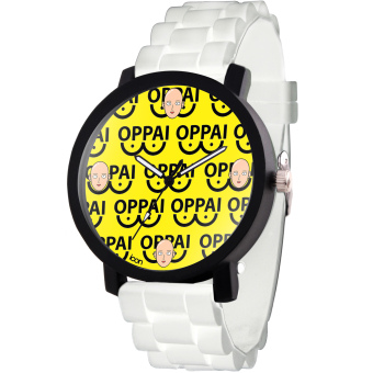 ANIME ZONE Fancy Saitama Oppai Pattern One-Punch Man Trendy Rubber Strap Anime Watch (Black/White) Price Philippines