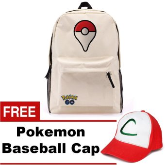 Pokemon Go Plus Laptop Backpack With Hidden Back Pocket (Cream) w/ FREE Pokemon Go Baseball Cap Price Philippines