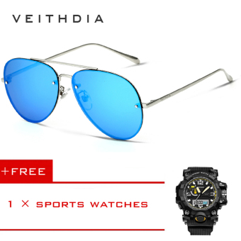 VEITHDIA Brand Fashion Men's Sunglasses Polarized Sunglasses UV400 3811 (Blue) [Buy 1 Get 1 Free] Price Philippines