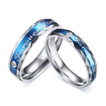 Harga 1PC (NOT 1 Pair)Personality Romantic Blue Style Stainless Steel Diamond Wire Drawing Couple Ring :Forever Love (Black For Men Gold For Women) - intl