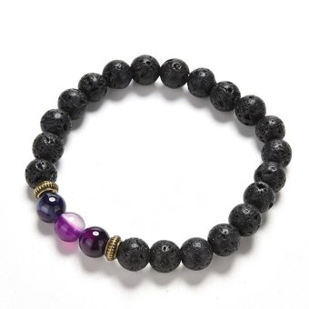 Black Lava Stone Beads Crystal Bracelets Lava Rock Bracelets - intl Price Philippines