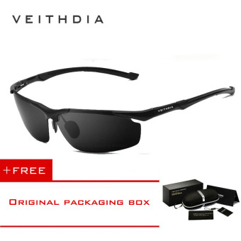 VEITHDIA Aluminum Magnesium Men's Sun Glasses Polarized Sports Driving Sun Glasses oculos Male Eyewear Sunglasses For Men 6592(Black) [ Buy 1 Get 1 Freebie ] Price Philippines