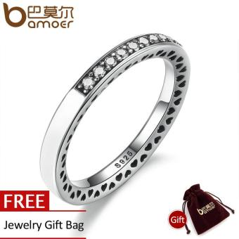 Harga BAMOER Real 925 Sterling Silver Radiant Hearts Of Silver Enamel Ring for Women with Clear CZ Wedding Engagement Jewelry PA7606 - intl
