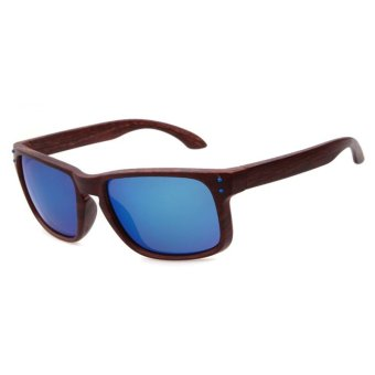Harga Casual wooden pattern sunglasses Fashion Men sunglasses (Coffee Blue)