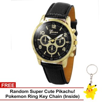 Harga Geneva Sophie Black Leather Strap Watch with Free Super Cute Pikachu Key Chain