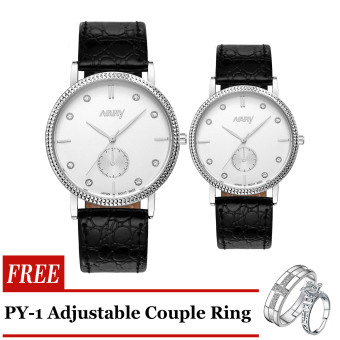 Nary 9003 Couple Business Type Corporate watch Black Strap Silver Frame White Face with Free PY-1 Adjustable Couple Ring Price Philippines