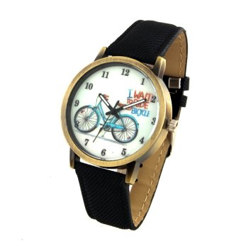 Harga Bicycle Unisex Black Denim Leather Strap Watch 8816 (Gold)