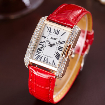 ANGEL Diamond Women Fashion Leather Strap Quartz Watch (Red) Price Philippines