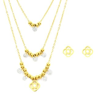 Harga Venice Jewelry Gold Raegan Necklace and Earrings Jewelry Set