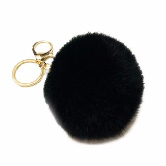 Fancyqube 9colors Cute Genuine rex Rabbit fur ball keychain Car key ring Bag Pendant fur pom fluffy key chains Black(White) - intl Price Philippines