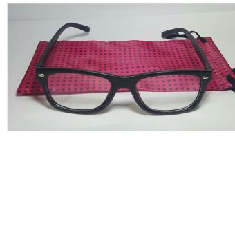 Harga PC TV Anti Radiation And Fatigue Non Prescription Square Eye Glasses in Pink Pouch (black)