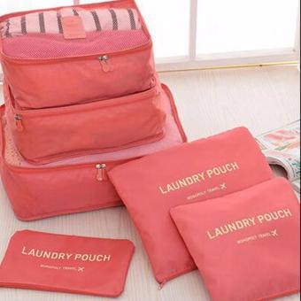 Harga mittaGonG 6 in 1 Travel Organizer Bag Storage Luggage Bags Cloth Packing Cube (Red�?- intl