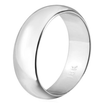 Harga U7 Classic Simple 8MM Band Rings for Women/Men Platinum Plated Wedding Jewelry Couple Rings (Platinum) - INTL