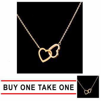 GMY Buy One Take One Couple Jewelry Gold Plating PVD Stainless Steel Dainty Tiny Two Entwined Hearts Pendant Necklace Price Philippines