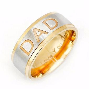 Harga Hequ New Design Men Fashion Stainless Steel DAD Ring Engraved Love You Dad Mens Ring Jewelry Gifts - intl