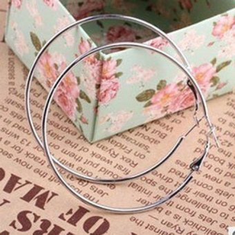 Fancytoy New Fashion Silver Plated Round Big Large Hoop Huggie Loop Earrings Jewelry New - - intl Price Philippines