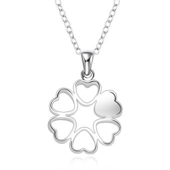 Harga Amart Sterling Silver Hollow Heart Flower Pendant Necklace(Silver)