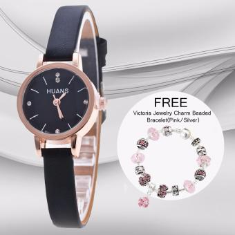 Harga CWL Slim Chick Leather Strap Watch (Black) with FREE Victoria Jewelry Charm Beaded Bracelet(Pink/Silver)