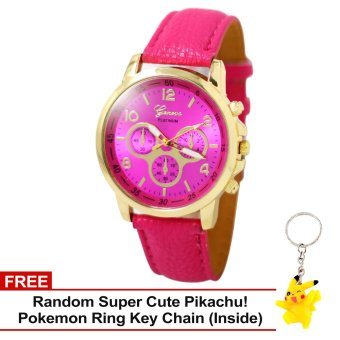 Harga Geneva Sophie Hot Pink Leather Strap Watch with Free Super Cute Pikachu Key Chain