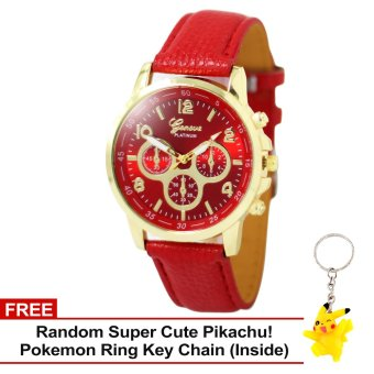 Harga Geneva Sophie Red Leather Strap Watch with Free Super Cute Pikachu Key Chain