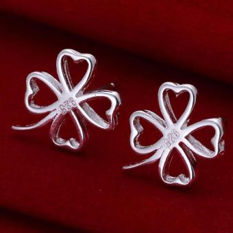 Harga Amart Sterling Silver Hollow Four Leaf Clover Earrings(Silver)