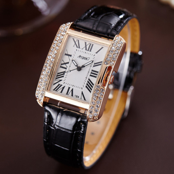 ANGEL Diamond Women Fashion Leather Strap Quartz Watch (Black) Price Philippines