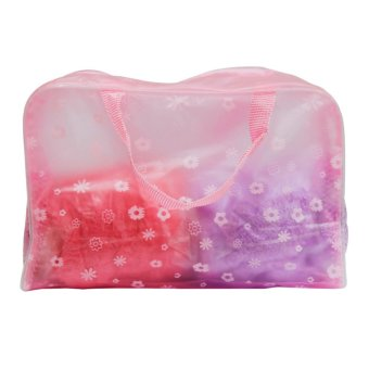 Harga Wawawei Waterproof transparent travel cosmetics storage bag (Pink) #32250