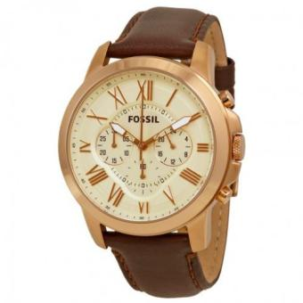Fossil Grant Chronograph Eggshell Dial Brown Leather Men's Watch FS4991 Price Philippines