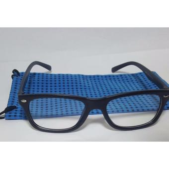 Harga PC TV Anti Radiation And Fatigue Non Prescription Square Eye Glasses in Blue Pouch (black)