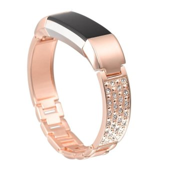 For Fitbit Alta HR and Alta Bands,Replacement Metal Bands with Rhinestone Rose Gold - intl Price Philippines